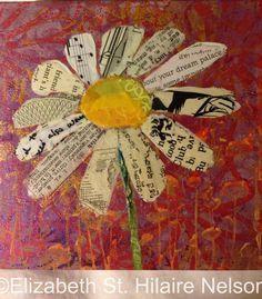 blumen basteln elizabeth st hilaire nelson mixed media flower paper painting quilling Is A Family Bu Journal D'art, Art Journal Pages, Art Journals, Art Floral, Mixed Media Canvas, Mixed Media Art, Mixed Media Painting, Mix Media, Book Crafts