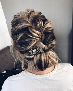 Loose braided updo wedding hairstyle , elegant bridal updo haistyle #weddinghairstyle #hairstyles #updstyle #updo
