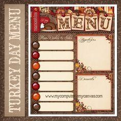 Free Printable Thanksgiving Day Menu Planner #mycomputerismycanvas