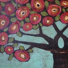 gritty folk art tree.    jane desrosier  @Natalie Jost Fullbright-Ostrander this reminds me of you