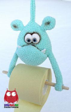 Hand made toilet paper monster ;-) Kids love them! Crochet Pattern for…