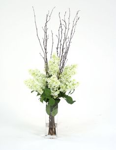 Silk Arrangement in Glass Vase