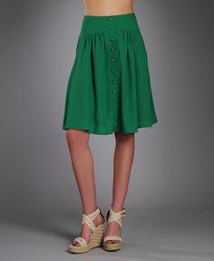 #ArynK Buttonfront Knee Length Skirt! Not a fan of the shoes but ideal summer wear skirt
