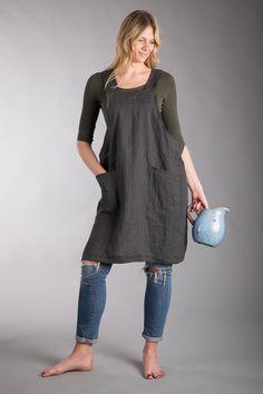 Schorten - Washed Linen Apron Dress Linen Artist Smock - Een uniek product van LiivLinen op DaWanda