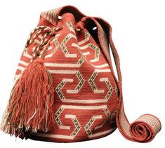 Desert Red Boho Geometric Purse with Tassels // Traditional Wayuu Mochila Bucket Bag // Azulina Wayuu $198