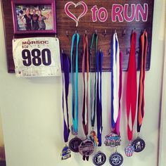 I love the picture on this one.really good idea. Running Bibs, Running Medals, Running Race, Running Bib Display, Medal Holders, Hate, Birthdays, Sports, Crafts