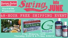 48 Hour Sale - Swing into June with Free Shipping! All products at http://GrampasGarden.com/ qualify for Free Shipping on Thursday 5/29/14 and Friday 5/30/14. (Free Shipping to Continental U.S. Only, excludes HI & AK) #freeship #freeshipping #sale #june