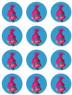 Trolls Poppy goodie bag labels cupcake toppers stickers favors digital download 2 inch circles collage pdf instant printable labels 22807 by printablespalace on Etsy