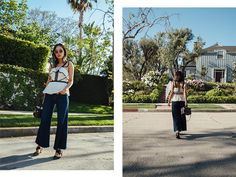 Aimee of the blog Song of Style shares a sophisticated look featuring a Self-Portrait lace top and MIH dark wash wide leg jeans.
