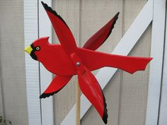 Large Colorful Cardinal Bird Whirligig / Red Bird / Whirlybird / Handmade / Wood…