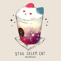 The puccino cat, illustration. - the site of Japan - The puccino cat, illustration. – the site of Japan - Arte Do Kawaii, Kawaii Cat, Cute Kawaii Drawings, Cute Animal Drawings, Cute Food Art, Cream Cat, Cat Drinking, Food Drawing, Cat Art
