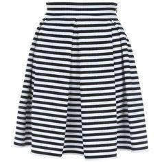 Jane Norman Stripe Skater Skirt ($46) ❤ liked on Polyvore featuring skirts, sale, a line midi skirt, midi skirt, black knee length skirt, black skirt and striped skater skirt