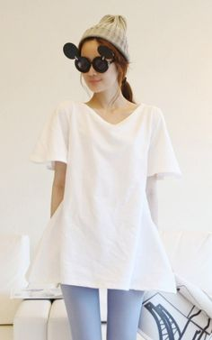 Graceful Wide Sleeve Bare-back Long T-shirt White