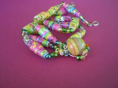 PAPER+BEADS+Jewelry+Pink+White+Green+Yellow+by+ActuallyPAPERBeads