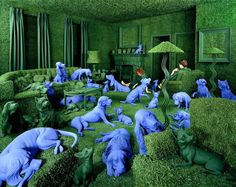 'The Green House', 1990. Sandy Skoglund creates these amazing images without the use of photo manipulation. It takes her months to complete and that care is evident in the elaborate and vibrant scenes in her photographs. I highly recommend checking her out.
