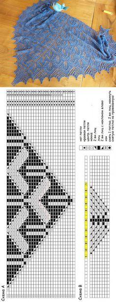 Шаль Enzian by Sue Berg Beginner Knitting Patterns, Knitting Charts, Lace Knitting, Knitting Stitches, Knitting Needles, Knitted Shawls, Crochet Shawl, Knit Crochet, Shawl Patterns