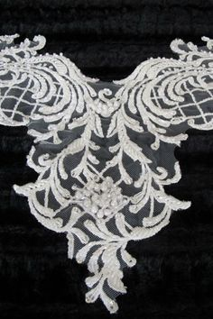 Beaded Ivory Applique Sweetheart Neckline Applique by gebridal