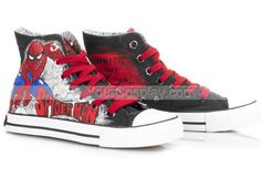 High Top SpiderMan Black Hand Painted Canvas Women/Men Shoes, Spiderman Shoes, Cosplay Hand Drawing Shoes