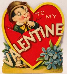 J1357 30s Boy in a Derby Hat-Vintage Diecut Valentine Card