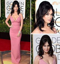 #GoldenGlobeAwards, Katy Perry! vestiu um simples e elegante Prada, na cor rose quartz (a cor do ano). O cabelo nem se fala! Mais que perfeito, com certeza é o destaque! #redcarpet #GGA #bestlooks 2016