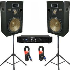 """New 15"""" Speakers 3 Way Pro Audio Monitors, Stands, Amp and Cables DJ Set for PA Home or Karaoke PPB15SET2 by Podium Pro Audio. $549.99. SpecificationsComplete DJ PA PPB15 SetBrand New Pair of PPB15 Ported 15"""" 3-Way CabinetsSpeakers can receive 700 Watts RMS per pair & 1400 Watts Max per pair at 8ohmSensitivity is 94dB with 25-30,000 Hz Frequency ResponseEach PPB15 Speaker is Height 30.25"""" x Width 18.5"""" x Depth 12.75""""38 Pounds per SpeakerBrand New VX2000 Pro Audio AmplifierClas..."""