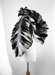 Felted Scarf Black Scarf Nunofelt Wrap ART DECO shawl Tiger Scarf Wool Scarves Felt Scarf Nuno felt Silk