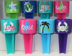 Monogrammed Beach Drink Holder Sand Spiker by happythoughtsgifts