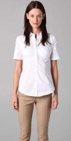 Alexander Wang Short Sleeve Bustier Shirt, $118.50 | www.findbuy.co/brand/alexander-wang #AlexanderWang