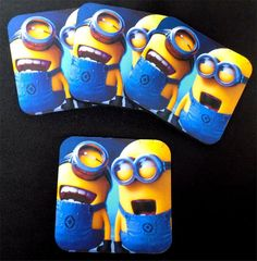 Minions Minion Blue Crazy NEW Funny Bar 4 Coaster Set Patch Biker Gift COA-0027