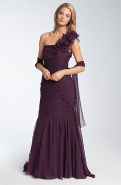 MOB? Veni Infantino Pleated One Shoulder Ruffle Gown available at Nordstrom