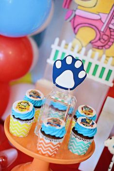 The cupcakes at this Paw Patrol birthday party are so cool! See more party ideas and share yours at CatchMyParty.com #catchmyparty #partyideas #pawpatrolparty #dogs #pawpatrolcupcakes