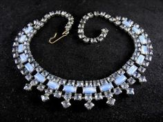 Blue Moonglow Glass Rhinestone Necklace Vintage by hipcricket, $45.00   I have something like this one.