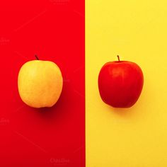 Two apples on bright backgrounds by Porechenskaya on Creative Market Apples Photography, Contrast Photography, Minimal Photography, Still Life Photography, Color Photography, Creative Photography, Color Combos, Color Schemes, Bright Background