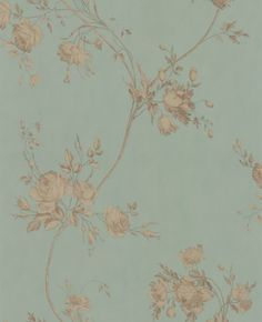 Darcy (7957/01) - Colefax and Fowler Wallpapers - A pretty flower trail design, shown here in eau de nil with metallic gold flower trail. Other colour ways available. Please request a sample for a true match.
