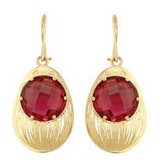 Renkli Taşlı Küpe - Gold & Ruby