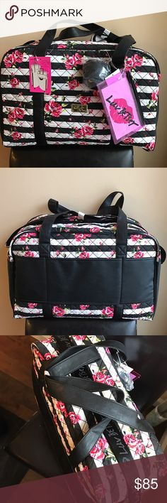 """Betsey Johnson floral print travel weekender bag Travel in style with this gorgeous betsey travel bag . Signature Betsey quilted design with roses . Top zip closure. Height is 13"""" width 19"""" . Has handles and also comes with detachable long strap .. comes with additional cute small zip pouch with Betsey logo .also has a cute black Pom Pom Betsey Johnson Bags Travel Bags"""