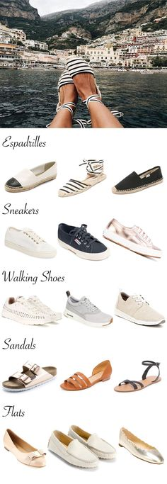 The best summer travel shoes for a trip to Europe. Comfortable and stylish shoes for trips and walking around cities.