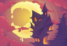"""Halloween Scene - Adobe Illustrator - by Yulia Sokolova *Note* for """"sparkles"""" to work, document color mode, and color palette, must be set to RGB"""