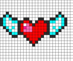 Heart On Wings Perler Bead Pattern | Bead Sprites | Misc Fuse Bead Patterns