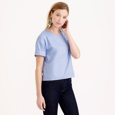 J. Crew Cotton Oxford Cropped Top blue $78  Originally $78 on the official J. Crew website. Item C0469. Size 8 (aka a medium). 100% cotton.  J. Crew Tops Blouses
