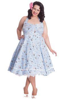 21adb931f01e3 Hell Bunny Plus Size Seasick Sue Dress Nautical Pin Up Girl Rockabilly  Vintage Halter Neck