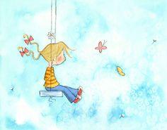Blonde Girl On Swing - SPRING GIRL - 5x7 Art Print Children. $12.00, via Etsy.