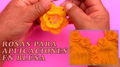 Rosas tejidos a crochet para aplicaciones en blusa - paso a paso