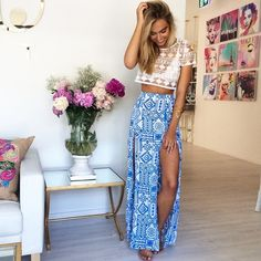 blue and white slit maxi skirt , white bralette top , sheer crochet lace off white crop top