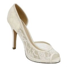 "$159.95 With a 3 3/4"" heel, the lovely Brianna Leigh Ella pump is a stunningly sophisticated bridal shoe crafted in elegant ivory lace with silk trim. Brianna Leigh Ella wedding shoes feature a comfort enhancing peep toe are available in both white and ivory up to size 12. Non-dyeable."