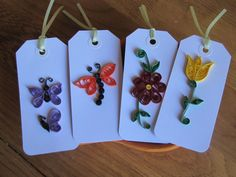 Items similar to Quilled Hang Tags--- set of 4 on Etsy Paper Quilling Cards, Origami And Quilling, Quilled Paper Art, Paper Quilling Designs, Quilling Paper Craft, Quilling Patterns, Paper Crafts, Quilling Videos, Quilling Techniques