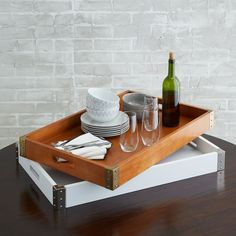 The Mid-Century Tray is crafted of rich wood with studded metal details at the edges. Use it on its own or mix and match with our other wood and acrylic trays. Gold Home Accessories, Decorative Accessories, Old Wood Texture, Butler Tray, Table Cafe, Ottoman Tray, Mirror Tray, Coffee Table Tray, Round Tray