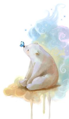 This bear and teenie butterfly is so dang adorable!  Artwork by darkmello.