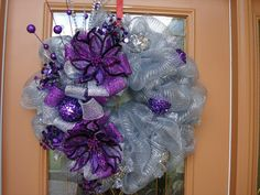 Deco Mesh Purple and Silver Holiday Wreath by DecoDzigns X Deco Mesh Crafts, Wreath Crafts, Diy Wreath, Wreath Ideas, Burlap Wreath, Purple Wreath, Floral Wreath, Purple Ribbon, Christmas Mesh Wreaths