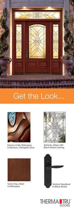 Therma-Tru Classic-Craft Mahogany Collection fiberglass door with Same-Day Stain in Mahogany and Ashurst decorative glass.